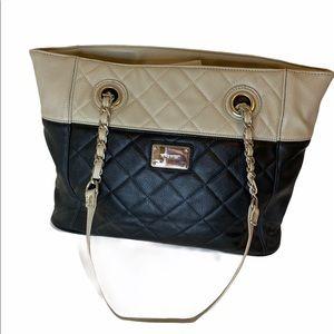 NINE WEST quilted tote handbag tan/black